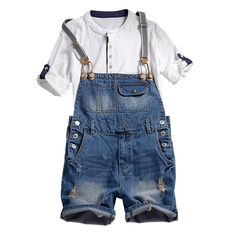 New Men's Denim Overalls Five Points Shorts Men's Summer Korean Version Of The One-Piece Tooling Sling Male Size M L Xl Xxl