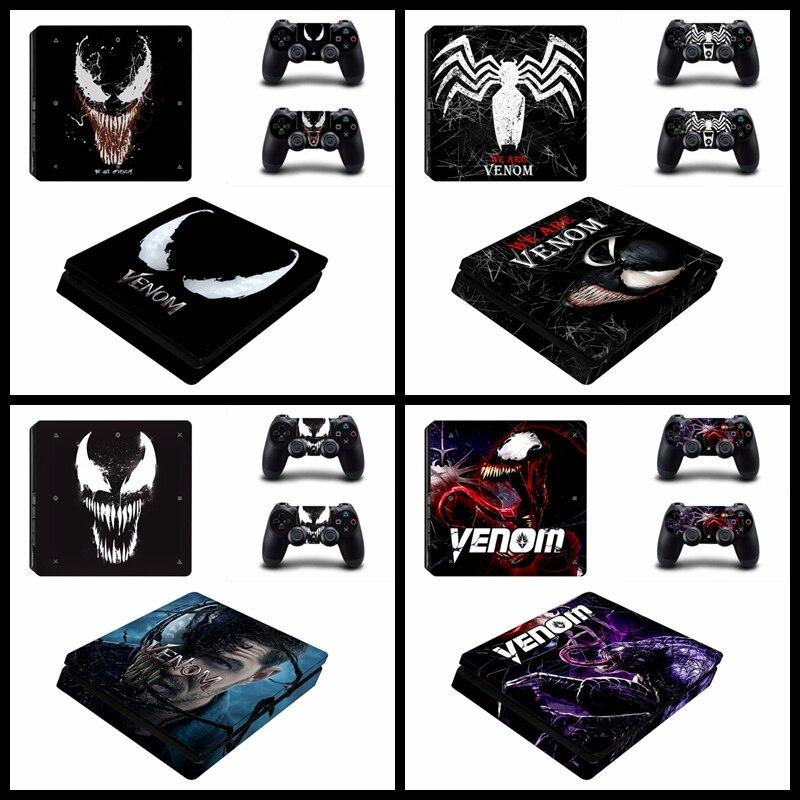 Venom PS4 SLIM Skin Sticker For Playstation 4 Slim Console Controller Vinyl Decals Protector Game VENOM Cover
