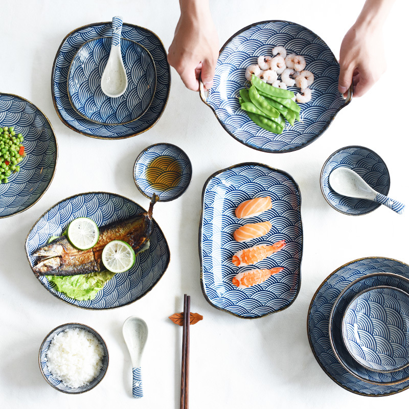 Underglaze Color Japanese Wave Pattern Ceracmic Dinnerware Pasta Plate Rice Bowl Porcelain Saucer Dish