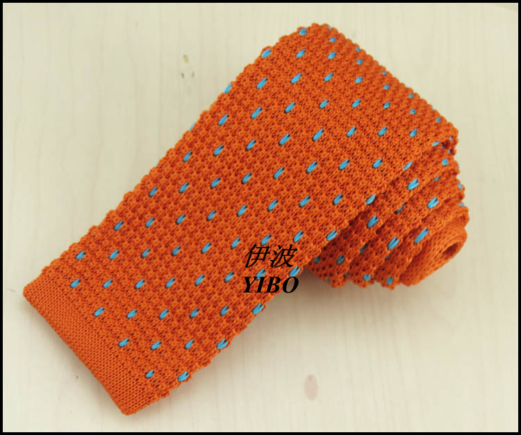 Orange knit neck tie heart-shaped lake blue dot design new han edition handsome boy narrow ties on sale