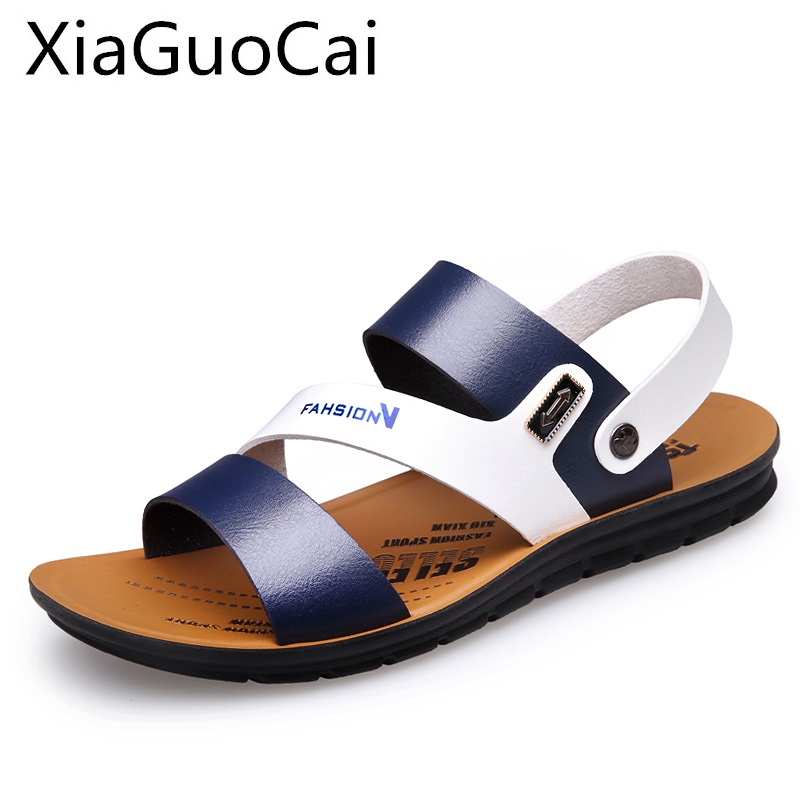 High Quality Men's Sandals Summer Anti-skid Leisure Beach Flat Sandals Outdoor Slip-on Leather Shoes For Male Soft Bottom