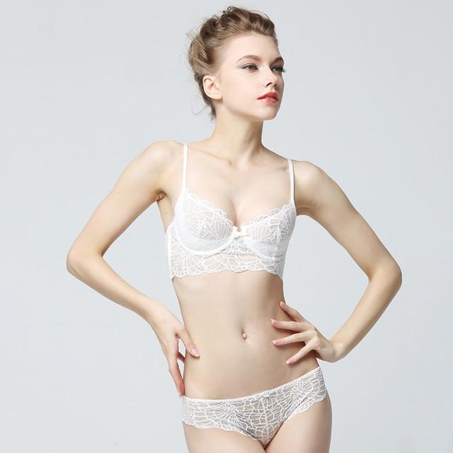 f06a6fcd88 Femal Intimates Gauze Sexy Lingerie Set Girl Transparent Ultra-Thin Bra  Briefs Plus Size Underwear Women Lace Bra Set BCD Cup