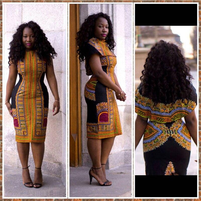 100% Kwaliteit 2019 Nieuwe Afrikaanse Jurk Voor Vrouwen Dashiki Traditionele Kleding Sexy Strakke Etnische Print Jurk Afrika Vrouwen Kleding