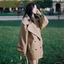 Женское осеннее зимнее шерстяное пальто Свободное модное шерстяное пальто