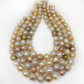 16 inches 13-14mm Natural High Luster Multicolor Edison Baroque Pearl Loose Strand