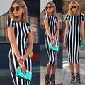New Patchwork Striped Empire Dresses  Women Summer Casual Dress  Wide Open O Neck Women Clothing Vestidos
