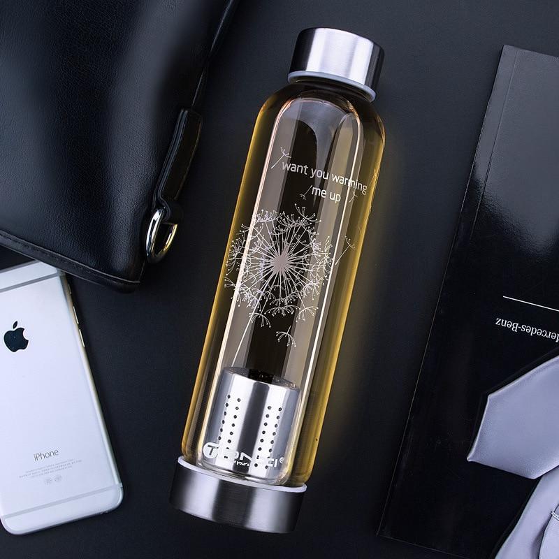 550ml Tea Bottle High Temperature Resistant Glass Water Bottle Glass Lemon Creative Car Gifts Tea Strainer Botella 50B