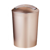 New 6.5L S Size European Simple Style Trash Garbage Can Wastebin with Lid Dust Can Home Office Toilet Decor Luxury Gold Color