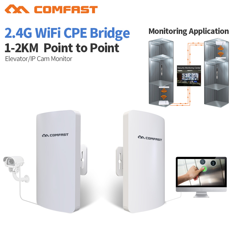 2pc COMFAST CF-E110N 300Mbps Outdoor CPE 2. 4G wi-fi Access Point Wireless Bridge 1-3KM Range Extender CPE Router For IP Camera
