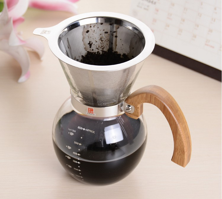 1pc Chemex style 250ml 600ml  woodneck Stainless steel filter Classic Series Glass Coffee Maker for barista drip coffee