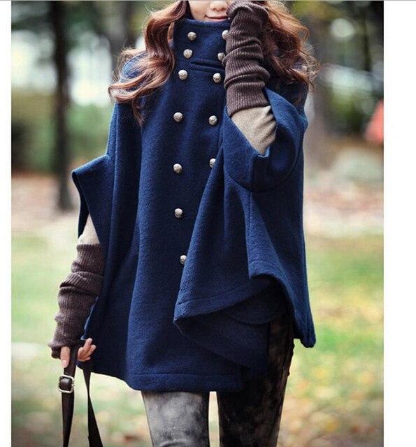 IMC женская Двубортный Пончо Кабо Шерсть Плащ Пальто Верхняя Одежда