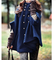 IMC Women's Double-breasted Poncho Cape Wool Cloak Coat Outerwear
