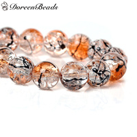 Crystal Glass Beads Round Orange Mottled About 10mm Dia Hole About 1 4mm 80cm 1 Strand