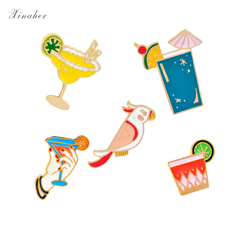 1pc Cartoon Summer Drinks Parrot Metal Brooch Button Pins Denim Jacket Pin Jewelry Decoration Badge For Clothes Lapel Pins Apparel Sewing & Fabric Badges