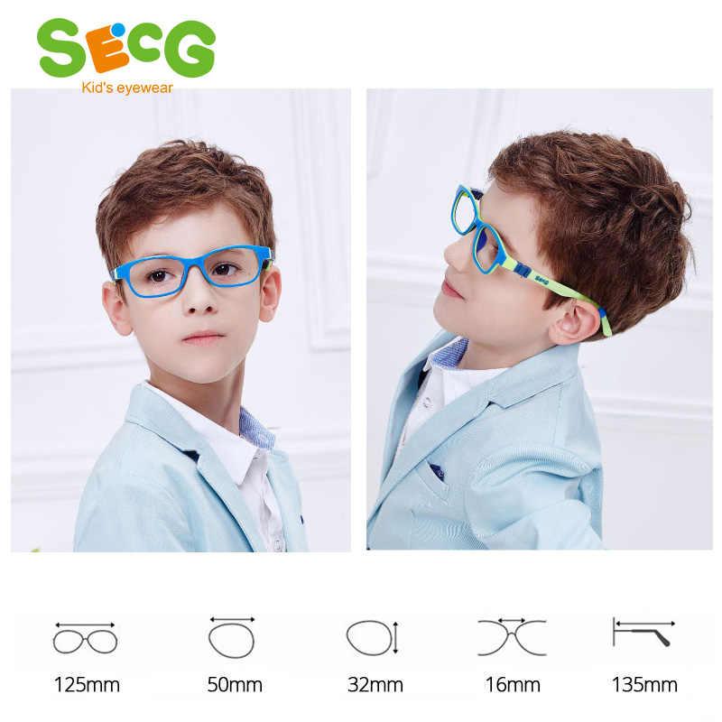 Secg Quang Học Trẻ Em Kính Khung TR90 Ốp Kính Trẻ Em Dẻo Bảo Vệ Trẻ Em Kính Đi-ốp Kính Mắt Cao Su