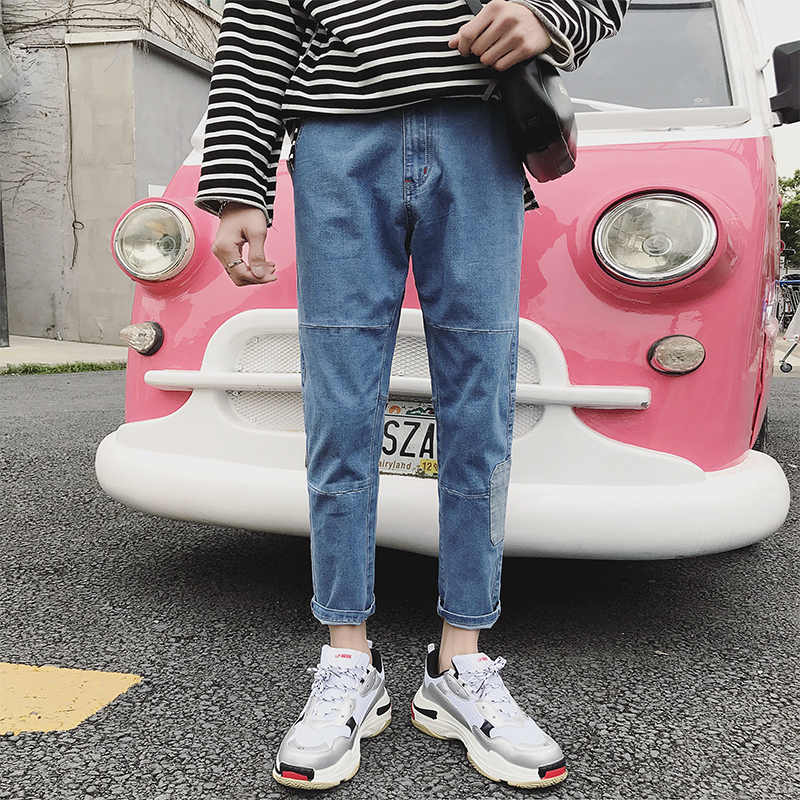 2018 The New listing Pattern Nine Part Pants Jeans Male Patch Korean blue casual Fashion Favourite Free shipping wild hip-hop