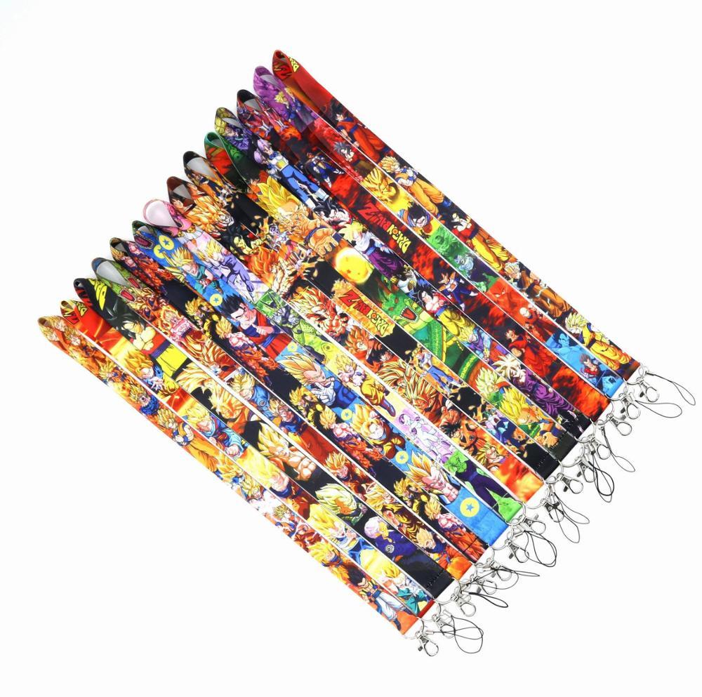 New 1pc Dragon Ball Anime Action Figures Cartoon Super Saiyan Son Goku Lanyard Keys ID Cell Phone Neck Strap Collection Toy Gift