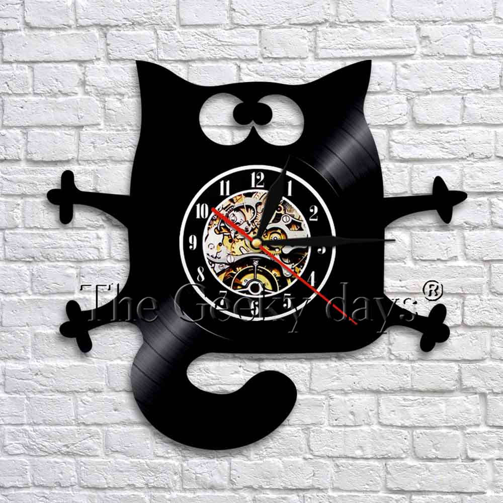 Funny Cat Design Vinyl Record Wall Clock Watches Handmade Home Wall Decor Interior Animal Art Time Clock Modern Design
