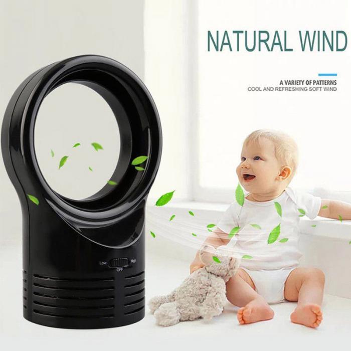 Mini ventilateur sans pales, portable à 2 vitesses et silencieux