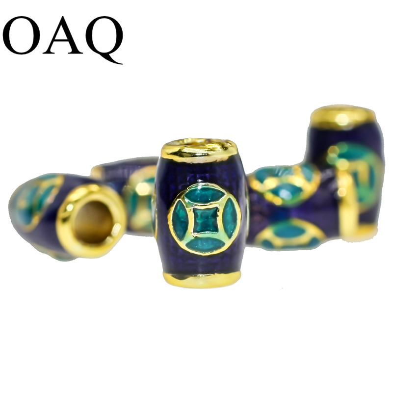 Spacer Beads Wholesale Cloisonne Metal Beads 6x9mm JEWELLERY Craft DIY Accessories To Make Bracelets Findings 5cps Pure Brass