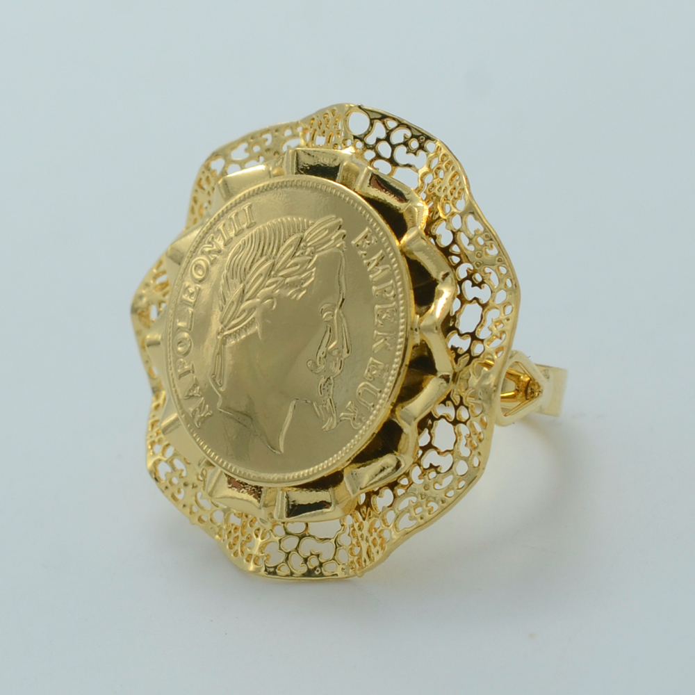 Napoleon Coin Ring for WomenArab Middle Eastern Rings Metal18K
