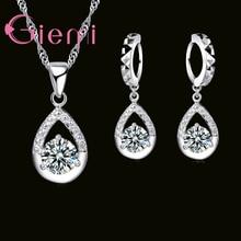 Jewelry-Sets Necklace Earrings Pendant Crystal 925-Sterling-Silver Cubic-Zirconia Women