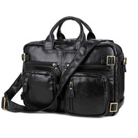 Multifunctional Genuine Leather Cowhide Men Briefcase Could Use As Back Pack Weekend Trip Bag Fit 15 Laptop PR587026