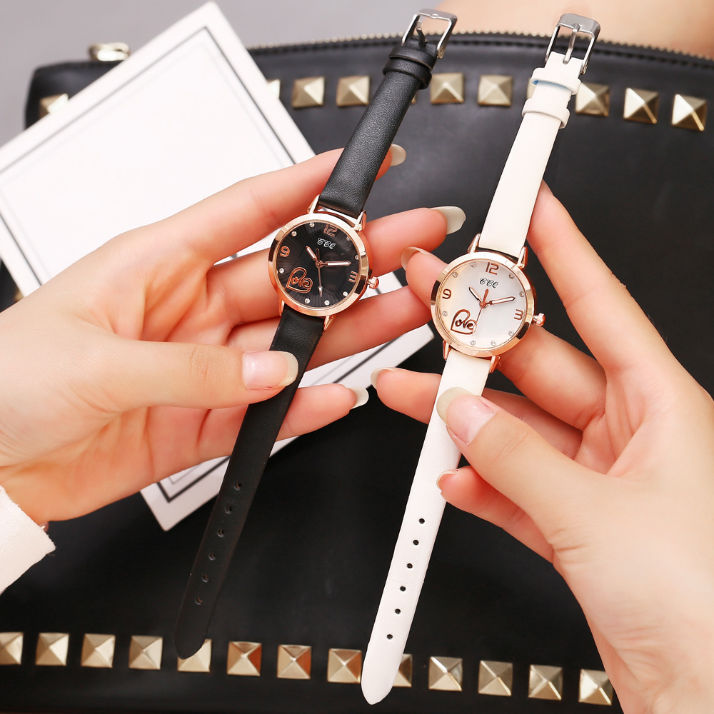New Ladies Dress Watch Women Leather Black Quartz Wristwatches Fashion Simple Love Dial Crystal Watch relogio feminino Gift 2019 in Women 39 s Watches from Watches