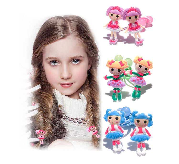 1-4pairs Lalaloopsy Cartoon Elastic Hair Band Hair Tie Rubber Band Hair Rope Headband Headwear Girls/Women Travel Accessories