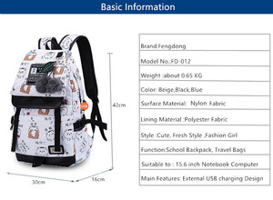 Image 3 - FengDong backpacks for children school bags for teenage girls feathers print schoolbag backpack child bag kids laptop backpack