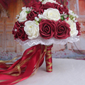 2016 Burgundy/Red wine Handmade Flowers Decorative Artificial Rose Flowers Pearls Bride  Wedding Bouquet