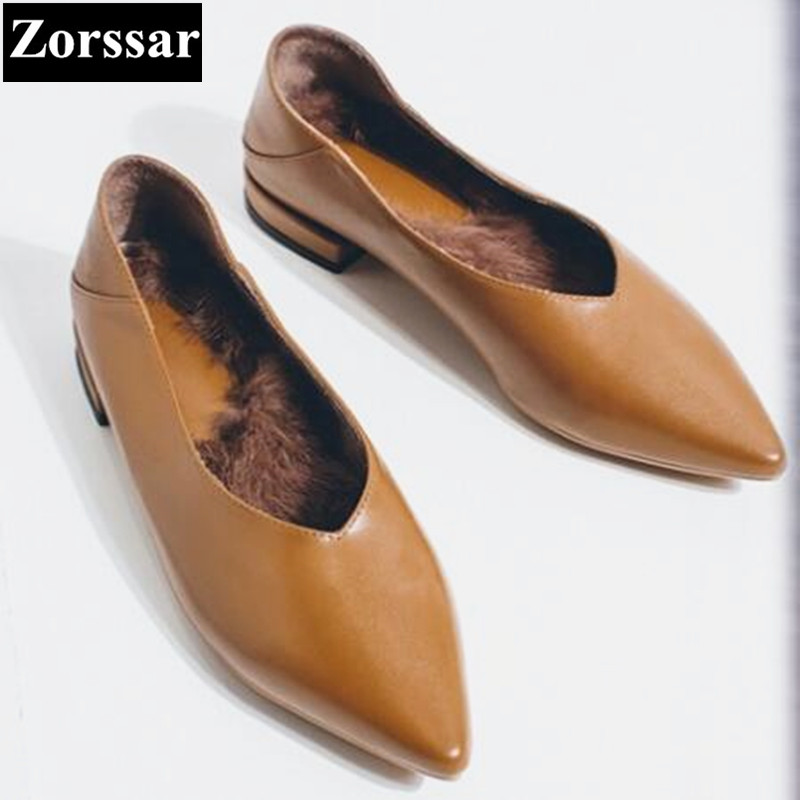 {Zorssar} 2018 NEW Fashion Real leather pointed toe Womens flat Shoes Woman Flats Casual comfortable Winter warm Women shoes yiqitazer 2017 new summer slipony lofer womens shoes flats nice ladies dress pointed toe narrow casual shoes women loafers