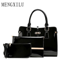 High Quality 3 Sets Patent Leather Women Handbags And Purse Fashion Composite Bag Ladies Bow Trunk