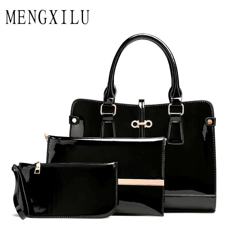 High Quality 3 Sets Patent Leather Women Handbags And Purse Fashion Composite Bag Ladies Bow Trunk Bags For Women Shoulder Bags ботинки для беговых лыж spine nnn creator 357 20 38