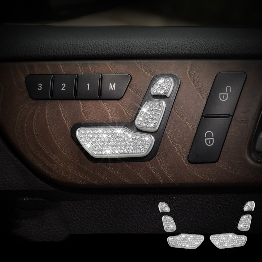 6pcs Seat Button Trim for Mercedes Benz GLE400 GLE320 GLS450 2015 2016 2017 Accessories Car Styling car seat adjustment button decoration frame trim sticker for mercedes benz e class glk cls gl gle e260l glk300 ml400 car styling