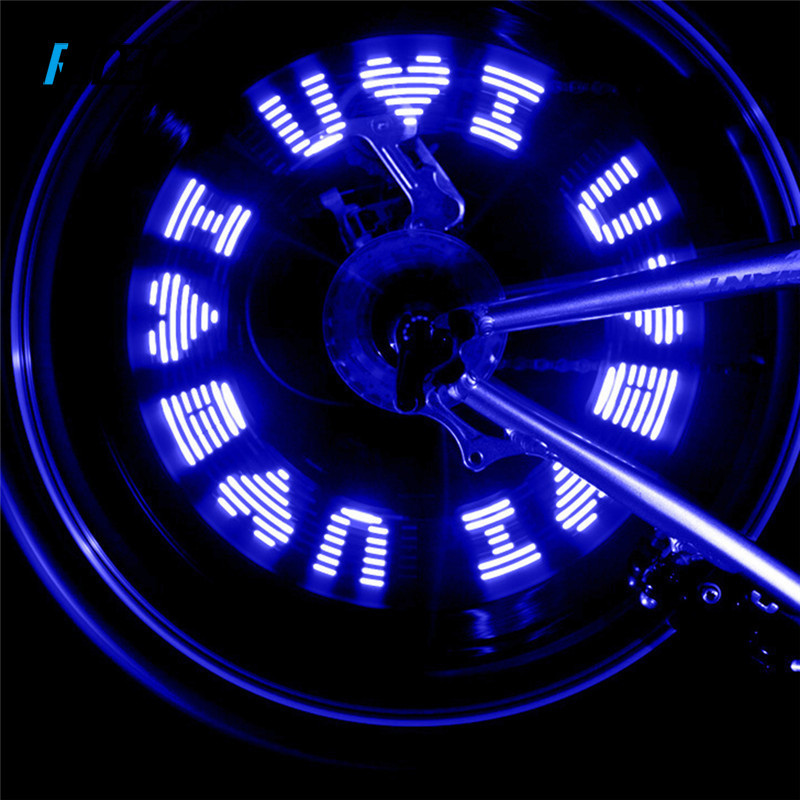 RIDECYLE Bike Wheel Valve Tire Tyre Lights 7 LED Change Letter Outdoor Cycling Waterproof Bike Bicycle Spokes Lights