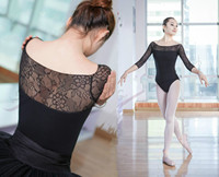 Female Adult Three Quarter Sleeve Gymnastics Leotard Sexy Ballet Dance Dress Women Exercise Professional Jumpsuit Dress