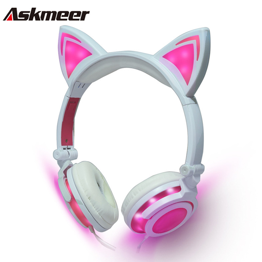 Askmeer Foldable Luminous Gaming Headphones Glowing Flashing Earphone Headset with Cute Cats Ear for PC Laptop Phone Music fashion cat ear headphones led ear headphone cats earphone flashing glowing headset gaming earphones gifts for adult child girls