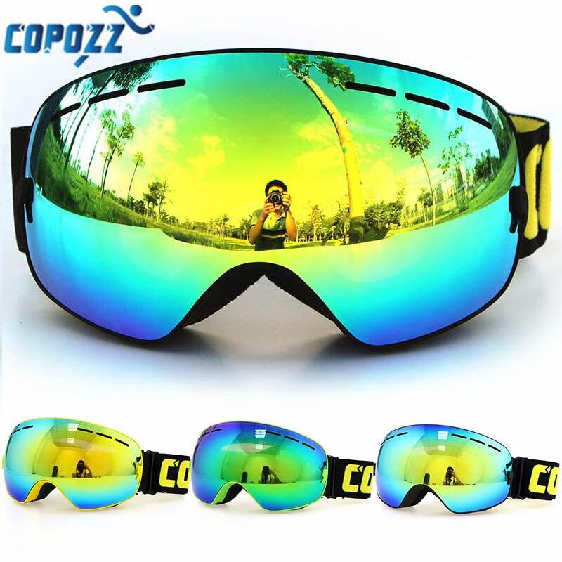 מותג 1 * סקי משקפי מגן זוגי שכבות COPOZZ UV400 משקפיים גברים נשים שלג סקי משקפי סנובורד מסכת סקי גדולות משלוח חינם!