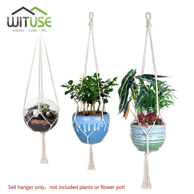 WITUSE Flower Pot Hooks Cotton Rope Plant Hanger Home Garden Balcony Wall  Hanging Plant Flowers Display