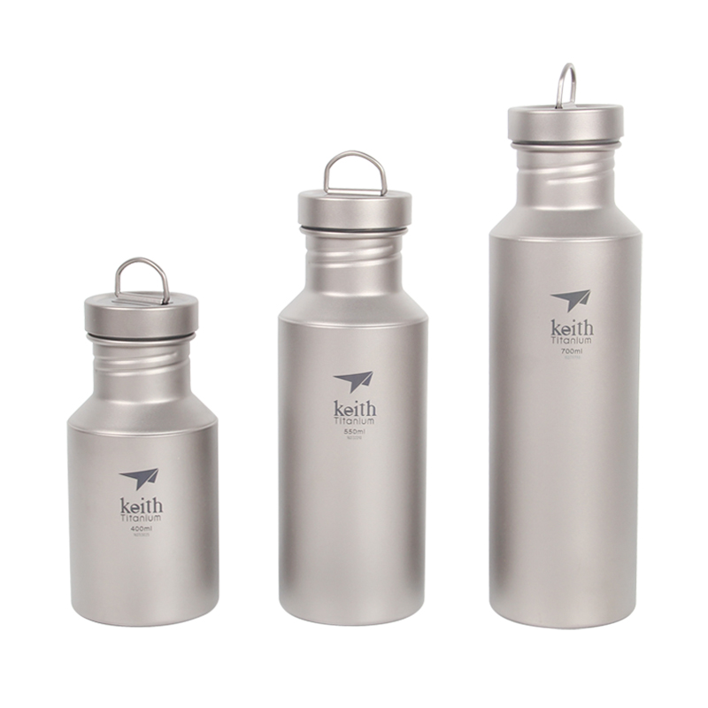 Keith 400ml/550ml/700ml Titanium Water Bottle for Outdoor Camping Titanium Sports Kettle