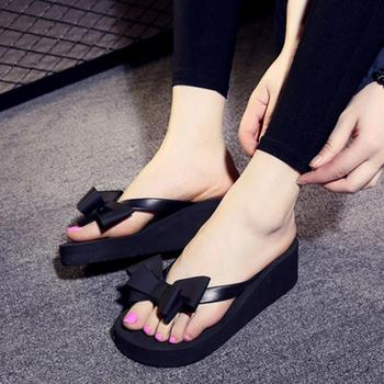 2019 New Women Summer Platform Shoes Bowknot High Flat Heel Holiday Beach Slippers Sandals EVA Women Slippers Sapato Feminino 1