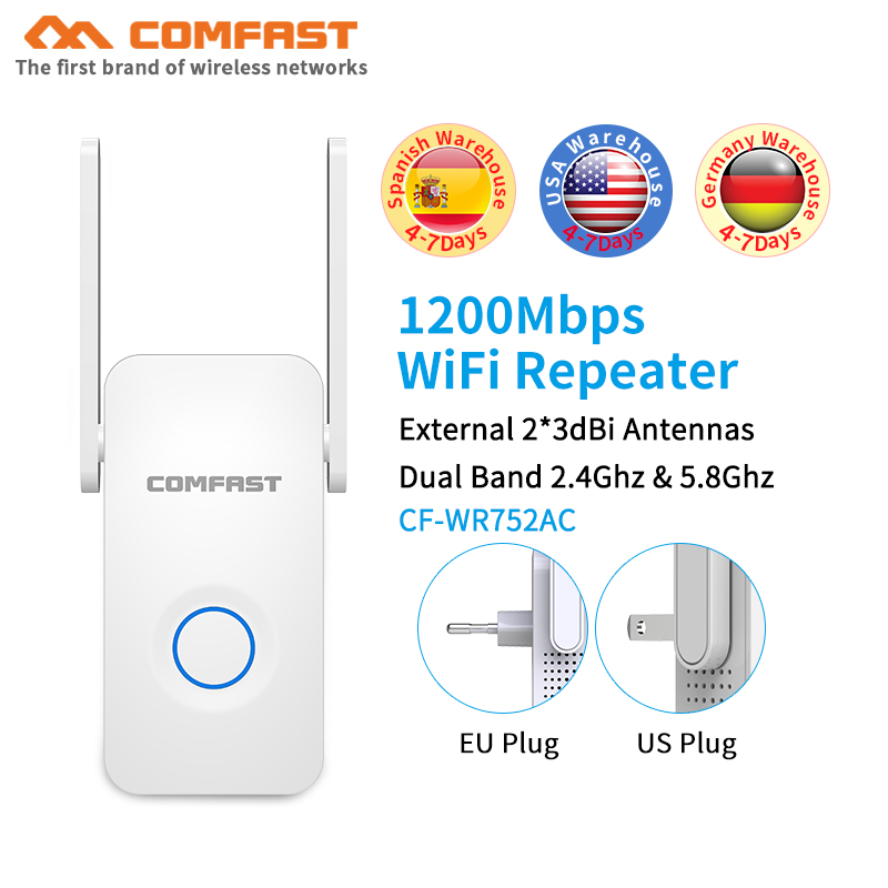 COMFAST 1200Mbps Wall Plug Router AC1200 Dual Band Wireless Wi-Fi Router Wifi Repeater AP Extender Booster with External antenna