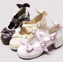 J anpaneseชุดนักเรียนรองเท้าk-onพังก์โลลิต้ารองเท้าเจ้าหญิงโบว์ตกแต่งบล็อกสีเดียวรองเท้านิ้วเท้ากลมน่ารักรองเท้า