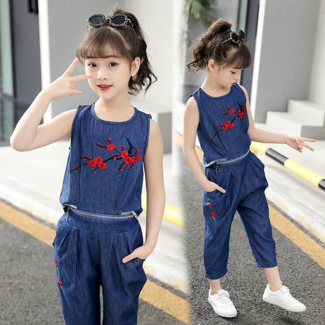 Summer New 2pc Clothing set for Teen Girls Outfits Soft denim Tops Jeans Shorts Suit Children kids vetement fille 6 8 10 12 14 Y