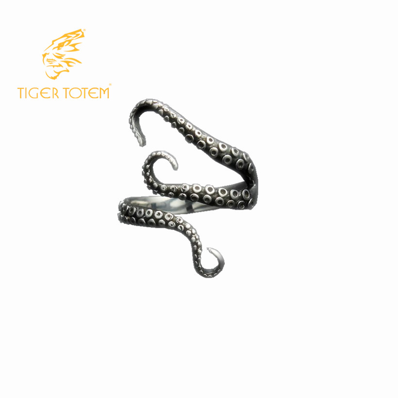 Free Shipping quality Titanium stainless steel cool Gothic Deep sea squid Octopus finger rings fashion jewelry