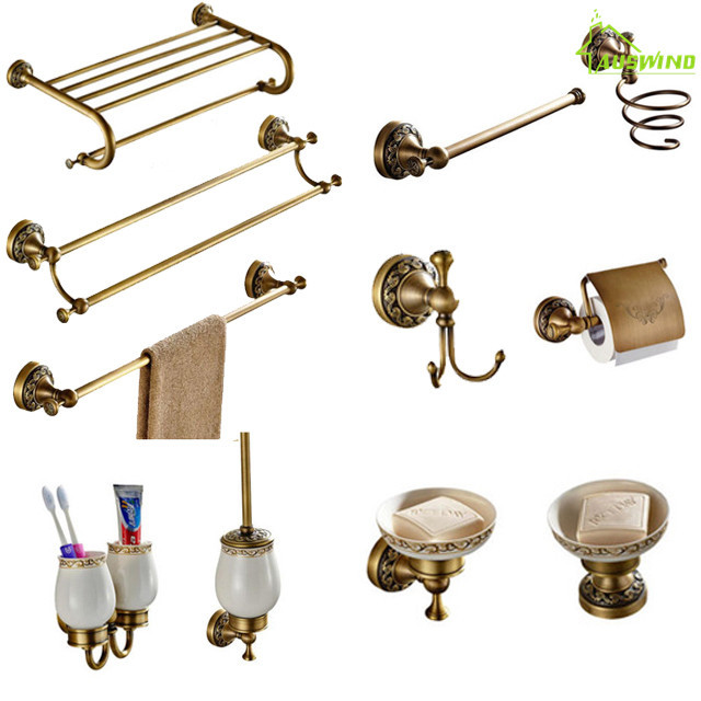 Antique Brass Carved Towel Paper Holder Bathroom Towel Rack Bathroom Accessories Retro Faucet Bathroom Hardware Set