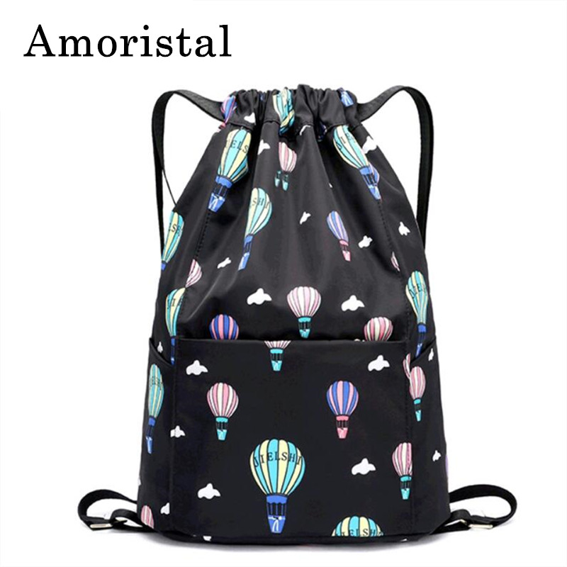 Women Drawstring Bag Fashion Simple Pocket Lightweight Sports Fitness Bucket Bags Schoolbag Folding Waterproof Backpack Men