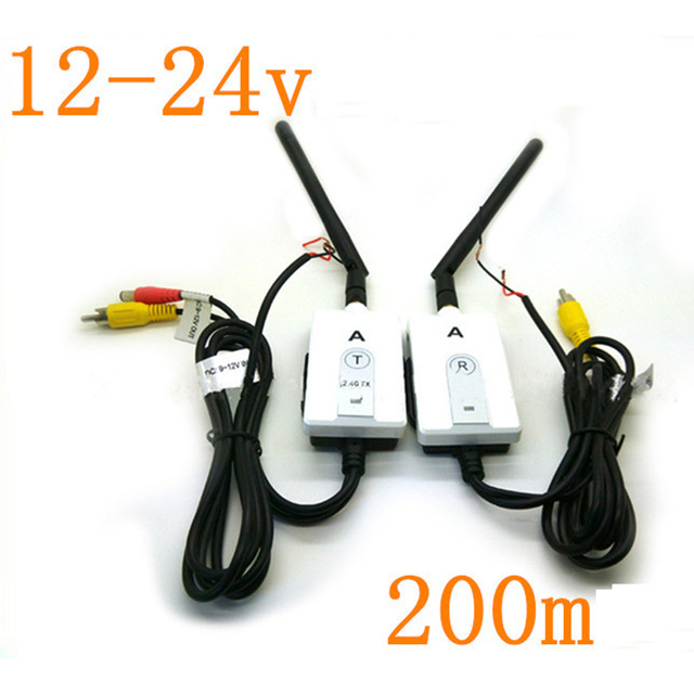 2.4 G sem fio AV transmissor e receptor para carro de ônibus do caminhão reverter câmera de 200 m de faixa