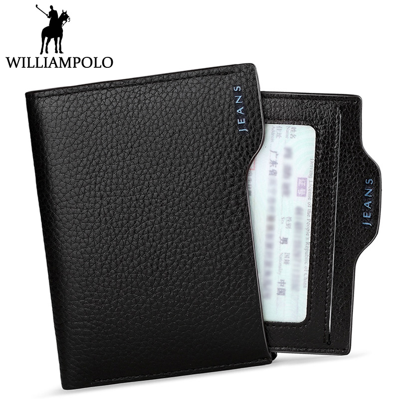 WILLIAMPOLO Fashion Driver License Wallet Men Genuine Leather Calfskin Wallet Dad BF Gift Cowhide Card Holder Purse Coin Pocket new cowhide leather men middle long wallets black color credit card holder driver s license passport pocket coin purse id wallet